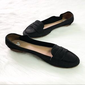 BP Black Leather Flats Casual Work Shoes